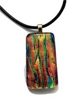 "Dichroic Glass Necklace Multi Color on Black Leather 16"" with 1"" extension - $19.99"