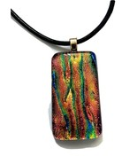 """Dichroic Glass Necklace Multi Color on Black Leather 16"""" with 1"""" extension - $19.99"""