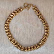 Estate Ridged Goldtone Link Necklace – 20 inches long x 5/8th's inches w... - $12.19