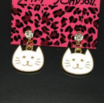 Betsey Johnson White Enamel Cat Face Crystal Post Dangle Earrings  - $6.99