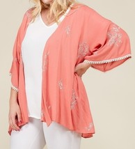 Plus Size Embroidered Kimono, Plus Size Lightweight Cardigans, Womens, Coral