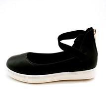 Bamboo Womans Grandslam Ankle Elastic Strap Sneaker Black Heel Zip Sz 6.5 M NEW - $21.45