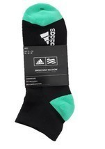 ADIDAS GOLF No Show Socks CF8347 Breathable Black / Green Sz 11-14 - $30.52