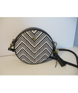 Michael Kors Medium Canteen Round Crossbody Woven Leather Admiral OpticW... - $98.99