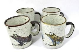 Stoneware Earthenware Mug Cup Frog Toad Speckled Crock Lot of 4 Folk Art... - $15.83
