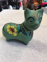Cat Figure Terra Cotta Green With Floral Hand Painted Design Mexico - $18.75
