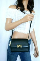 NWT MICHAEL KORS MONTGOMERY SMALL LEATHER CROSSBODY BAG BLACK - £61.42 GBP