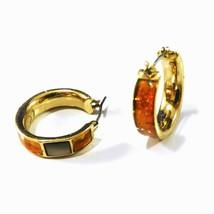 Liz Claiborne Earrings Black Abalone Shell Hoop Orange Lucite Pierced Ear Signed - $8.50