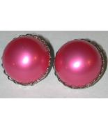 Hot Pink BIG Pearl Clip-on Earrings Vintage - $8.25