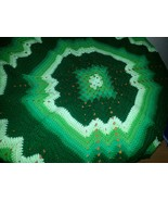 Crocheted afghan, multi-colored greens, granny square/ripple - $75.00