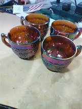 4 Large Imperial Glass Carnival Grape Punch Cups - IG Amythest - $27.55