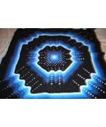 Crocheted afghan, multi-colored blues, granny square pattern - $75.00