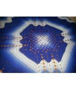 Crocheted afghan, multi blues, granny/ripple  pattern - $75.00