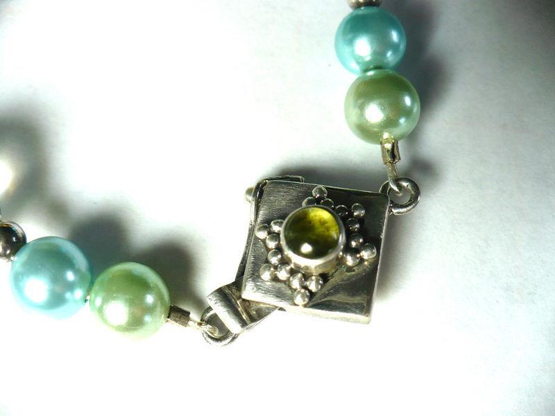 Egyptian Faience Scarab w Vintage Japan, Italian Murano & German Beads Bracelet