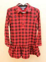 Ralph Lauren 4T Girl Red Buffalo Check Plaid Flannel Dress Long Sleeve H... - $21.75