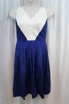 Anne Klein Dress Sz 12 White Blue Sleeveless V Neck Business Dinner Work... - $49.44