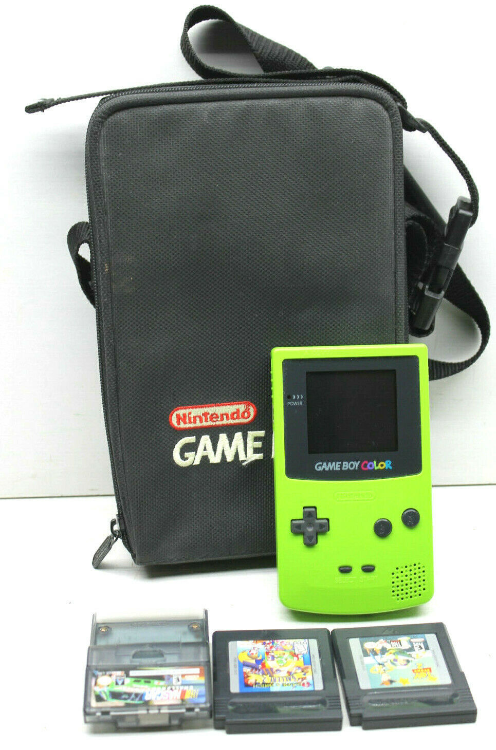 Nintendo Game Boy Color Model #CGB-001 Green w/ 3 Games Gallery 2+Toy Story 2+