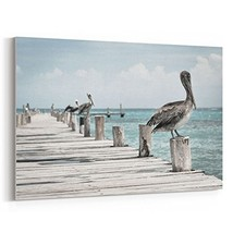 westlake art - Pier Pelican - Canvas Print Wall Art - Canvas (24x36 Inch) - $57.32