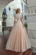 Peach Beach Wedding Dresses Cap Sleeve Lace Appliques Soft Tulle Boho Princess W image 2