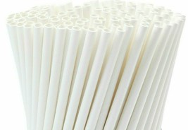 Drinking Straws White Paper Disposable Eco-friendly Party 6mm 7 3/4''  50pc - €6,25 EUR