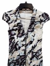 Karen Millen Short Sleeve Beige Black Blue Summer Zipper Floral Dress Size 2 image 2