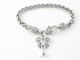 Lacrosse Sticks Clear Crystal Silver Lobster Claw Bracelet Jewelry Mom Team - $12.65