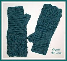 Teal Green Gloves Fingerless Crocodile Evening Long Hands Wear Womens La... - $27.00