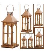6 Golden Metal Wood Lantern Large Tall Candle Holder Wedding Centerpieces - $159.73