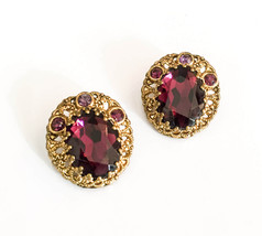 Purple Glass Earrings, Vintage Jewelry - $35.00