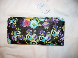 Time And Tru Ladies Women's Black Floral Wallet 12 CC Slots & ID Holder NEW - €8,10 EUR