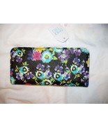 Time And Tru Ladies Women's Black Floral Wallet 12 CC Slots & ID Holder NEW - £6.80 GBP