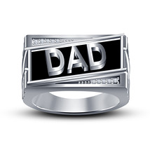 White Gold Plated 925 Sterling Silver Round Cut CZ Black Enamel Men's Dad Ring - $103.88