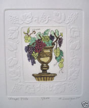 Lundquist Grape Trio Vase Etching S/N Embossed Edges - $9.29