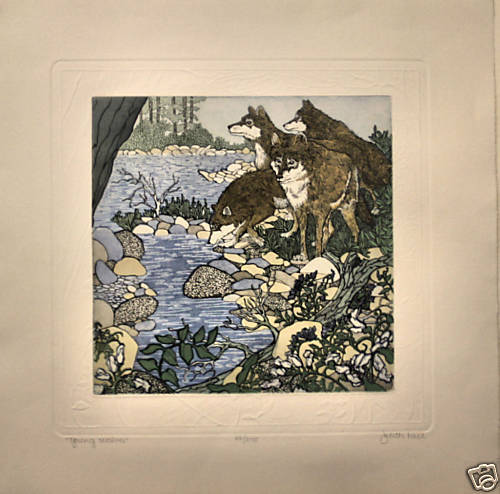 Judith Hall Young Wolves Etching S/N Original Beautiful