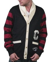 Crooks & castles air guns knit shawl collar black/scarlet sweater cardig... - $49.08