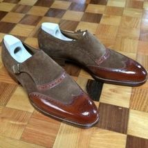 Handmade Men's Brown Leather Chocolate Brown Suede Monk Strap Shoes image 3