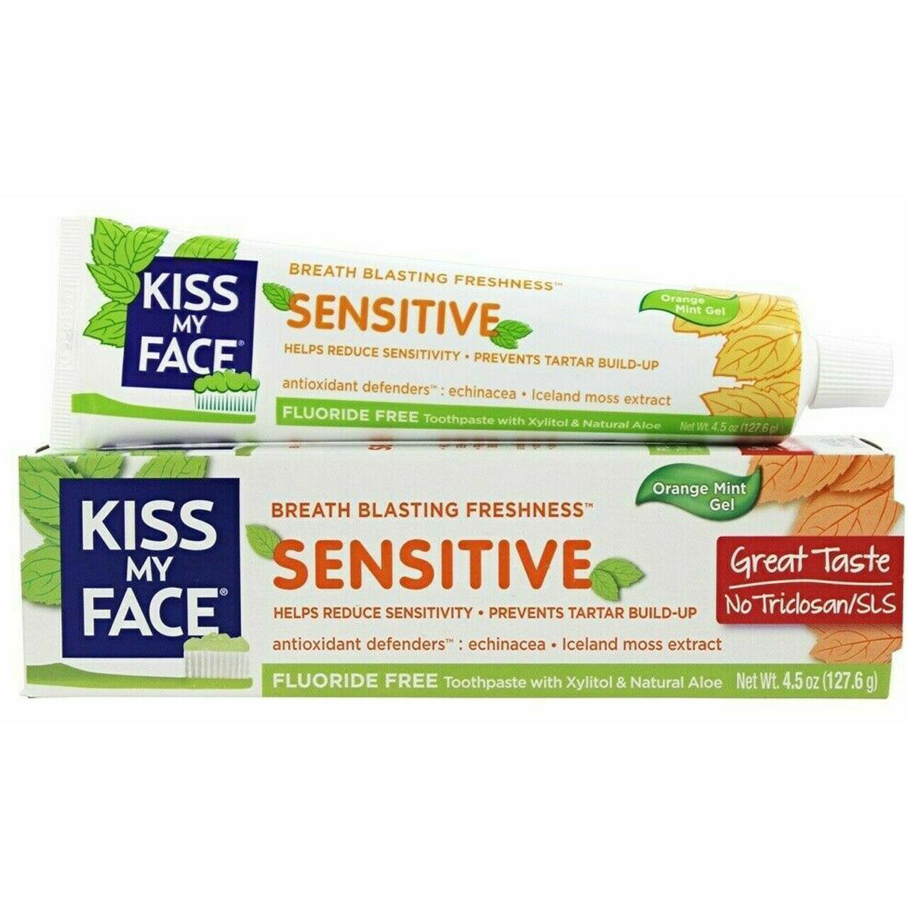 Primary image for Kiss My Face Sensitive Toothpaste Gel Fluoride Free Orange Mint 4.5 oz. (127.6g)