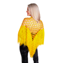 Yellow Crochet Triangle Fringe Scarf Wrap - $44.99