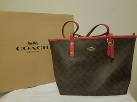 NWT Coach F58292 Signature Zip Tote Handbag Purse Shoulder Bag Brown Red - $182.33