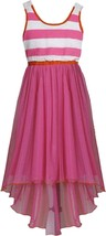 Bonnie Jean Big Girl Tween 7-16 Fuchsia-pink Crochet Lace Back High Low Chiffon