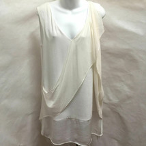 BCBG Maxazria Runway M Sophie Dress White Ivory Draped Tiered Shift - $39.18