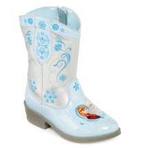 NWT Disney Frozen Anna Elsa Blue Sparkle Cowboy Boots Girls Toddlers Sz ... - £19.74 GBP