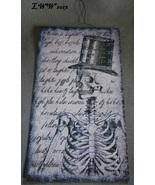 Skeleton Top Hat Halloween Vintage-look Black and White Metal Sign - $8.99