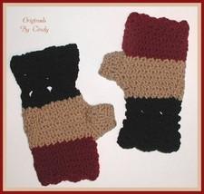 Fingerless Gloves Tan Black Cranberry Dark Red Light Burgundy Mittens Ha... - $14.00