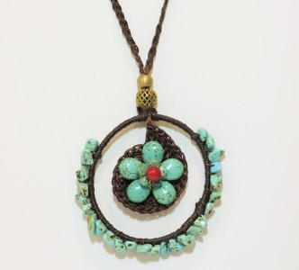 Turquoise Flower Brass Starfish Charm Circle Braided Cotton Cord Necklace