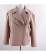 Trouve Asymmetrical Zip Bonded Moto Jacket Pink Womens Sz L - $58.04