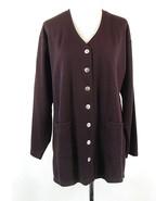 Herman Geist Size 1X Burgundy Lightweight Rib-Knit Cardigan Jacket NWT - $27.99