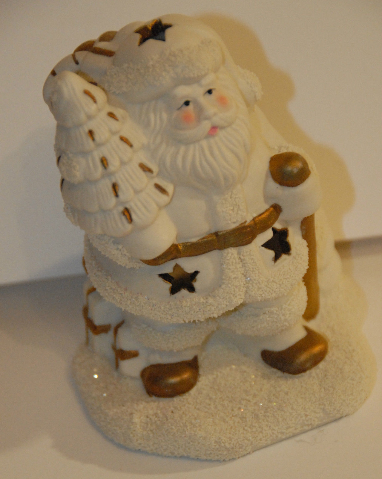 Primary image for SANTA CLAUS SHAPED VOTIVE CANDLE HOLDER SPARKLY SNOW TREE BISQUE PORCELAIN VGC