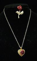 Vintage Jewelry Set Enamel Rose Pin Brooch & Heart Pendant Necklace  Lot... - $17.81