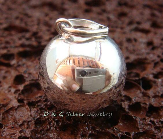 925 Silver 18mm Smooth Chime Ball Pendant CH-327-DG
